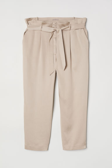 H&M+ Paper bag trousers - Beige - Ladies | H&M