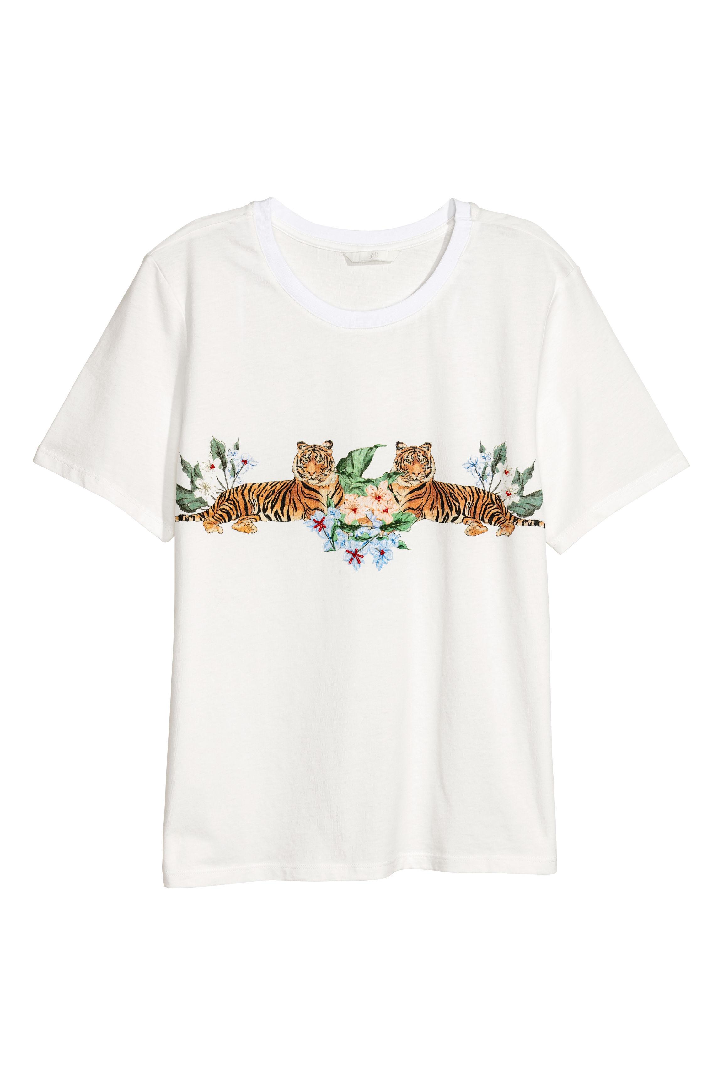 bf5208cb8ceb Appliquéd T-shirt - Natural white - Ladies | H&M GB