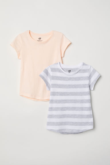 2-pack T-shirts - White/Grey striped - Kids | H&M