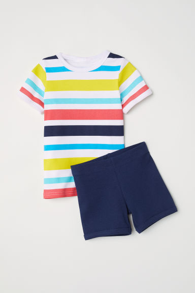 Jersey pyjamas - White/Multicoloured stripes -  | H&M