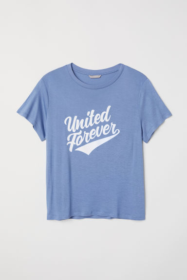 H&M+ T-shirt with a motif - Dusky blue/United Forever - Ladies | H&M