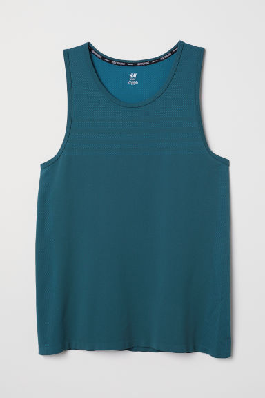 Seamless running vest top - Dark turquoise - Men | H&M CN