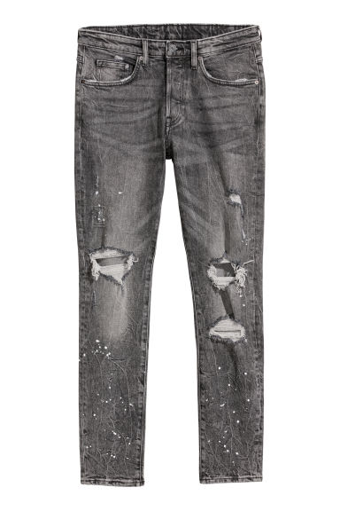 Trashed Skinny Jeans - Donkergrijs denim -  | H&M BE
