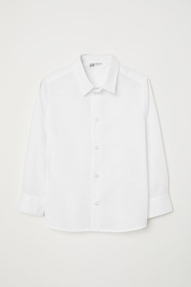 Linen-blend shirt - White - Kids | H&M
