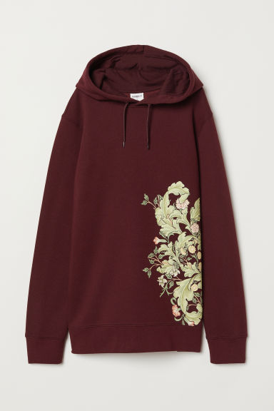 Hooded top with a motif - Burgundy/Flowers - Men | H&M
