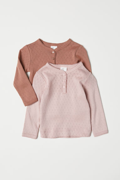 2-pack pointelle tops - Dark beige/Powder pink - Kids | H&M CN