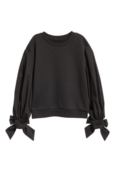 Sweat-shirt manches bouffantes - Noir - FEMME | H&M BE