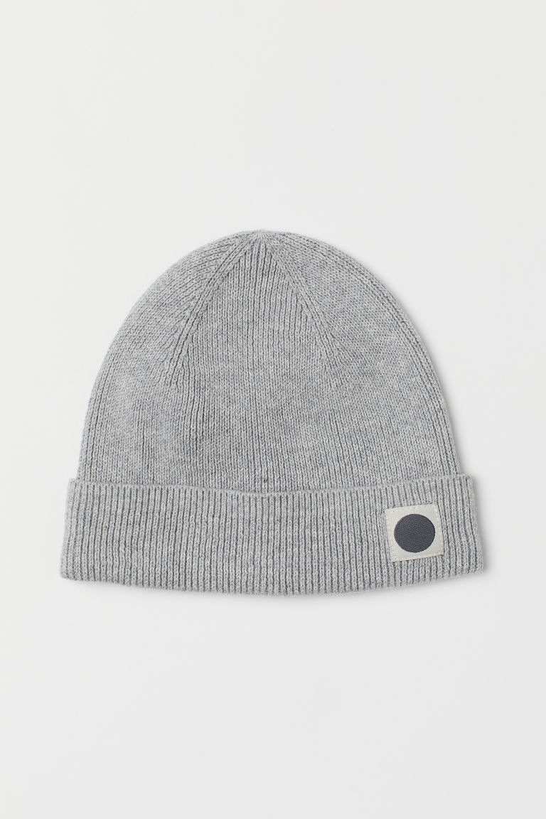 Rib-knit hat - Light grey marl - Kids | H&M