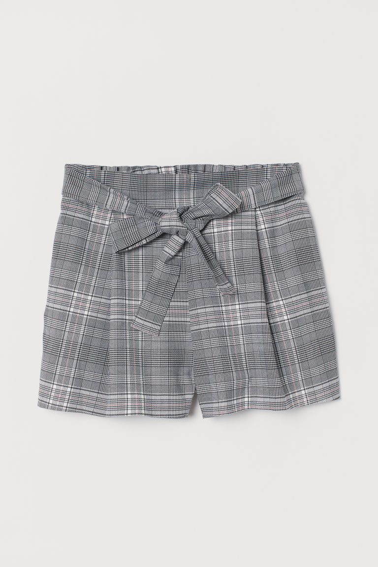 Shorts with a tie belt - Dark grey/Dogtooth-patterned -  | H&M IN