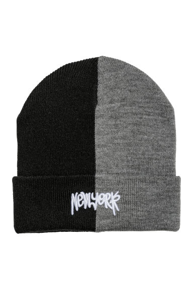 Fine-knit hat - Black/Grey - Kids | H&M CN