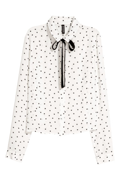 Long-sleeved blouse - White/Stars -  | H&M CN