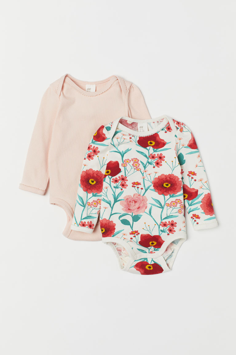 2-pack bodysuits - White/Floral - Kids | H&M