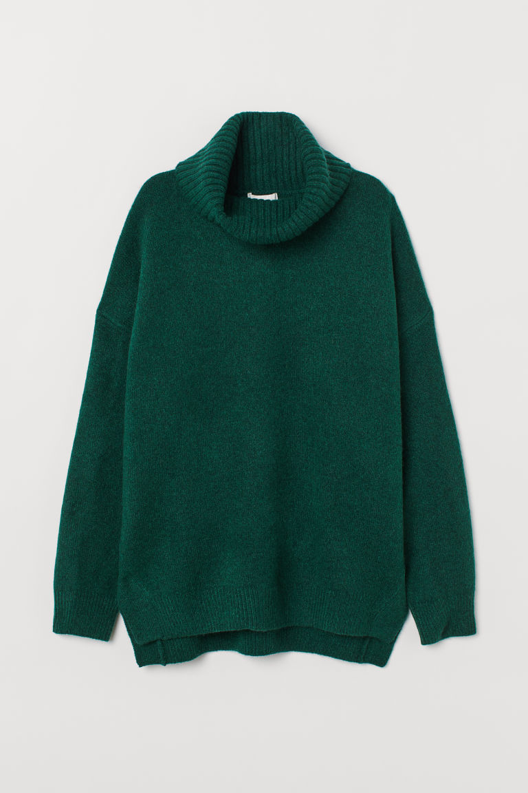 Pullover con collo a cratere - Verde scuro mélange - DONNA | H&M IT