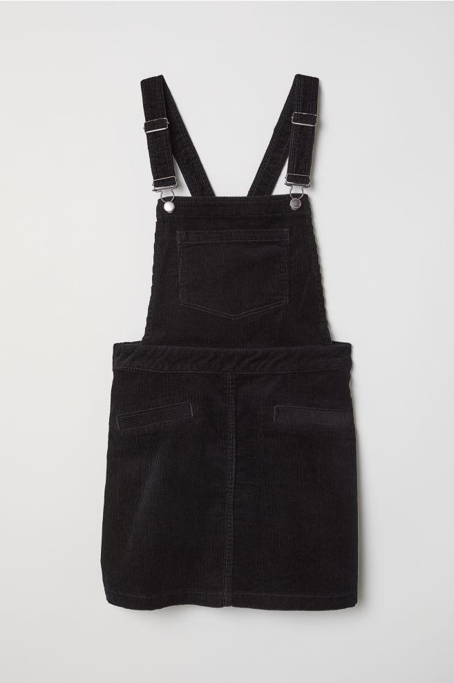 7b554841aa Corduroy Bib Overall Dress - Black -