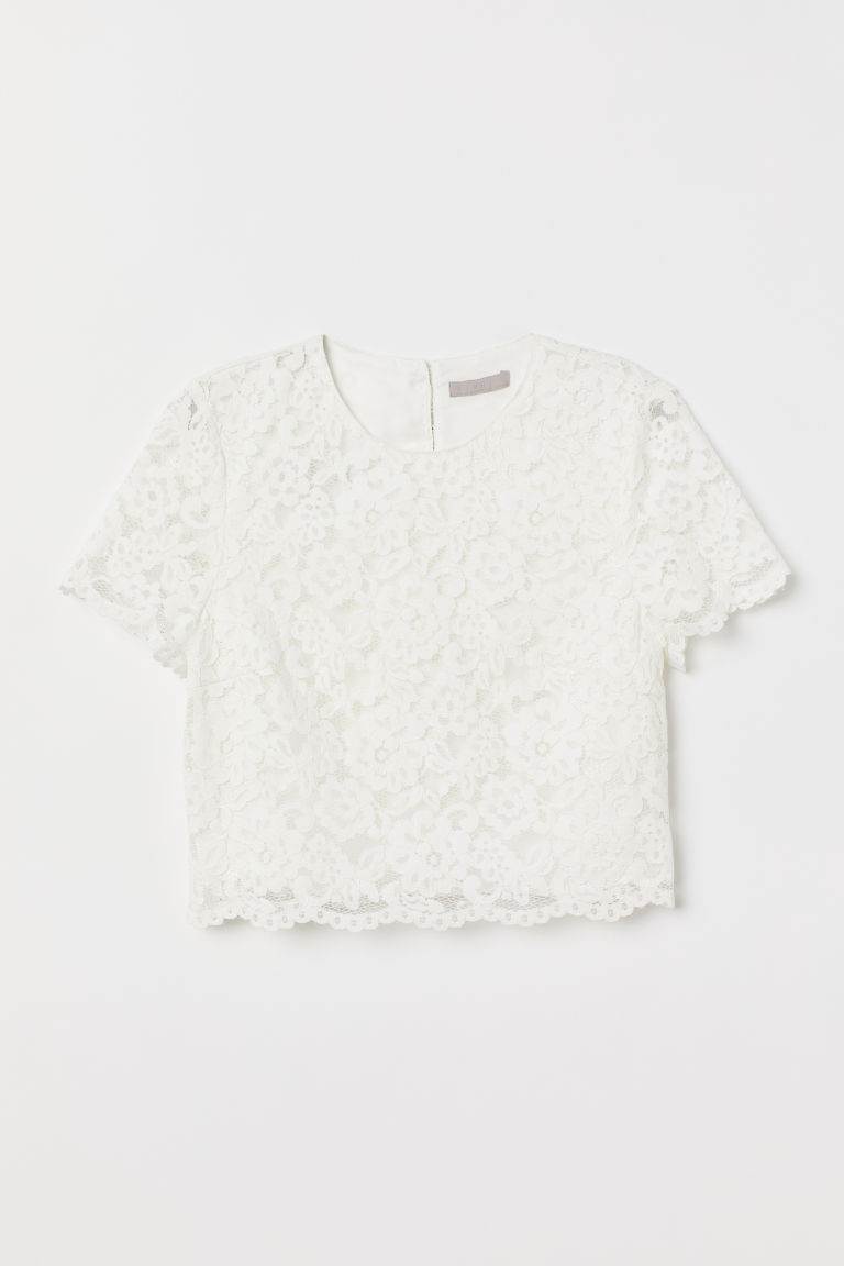 Lace Top - Cream -  | H&M US