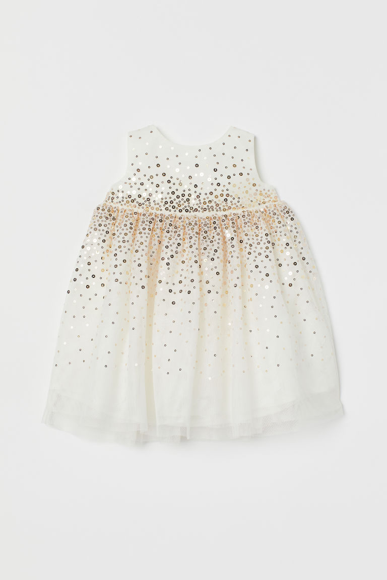 Tulle Dress with Sequins - White - Kids | H&M CA