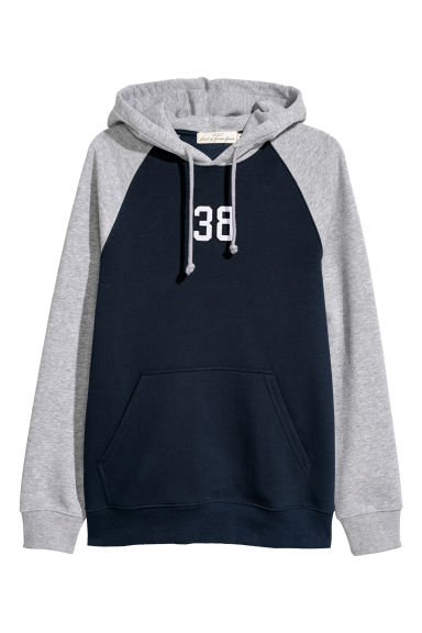 Hooded top with a motif - Dark blue/Grey marl -  | H&M
