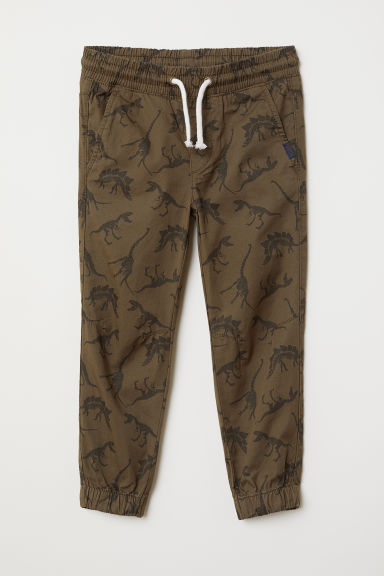 Cotton pull-on trousers - Dark khaki green/Dinosaurs - Kids | H&M