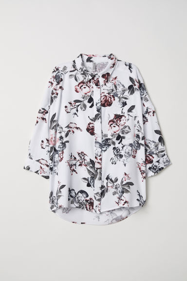 Wide shirt - White/Floral -  | H&M CN