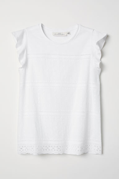 Embroidered top - White - Ladies | H&M