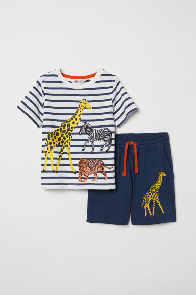 Shorts and T-shirt - Dark blue/Animals - Kids | H&M CN