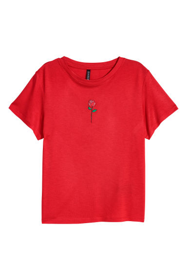 Jersey top with a motif - Red/Rose -  | H&M CN