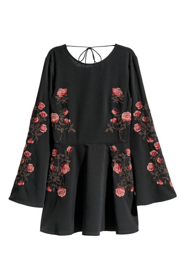 Embroidered dress - Black/Roses -  | H&M