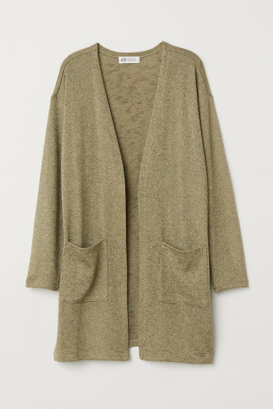 Fine-knit cardigan - Khaki green - Kids | H&M