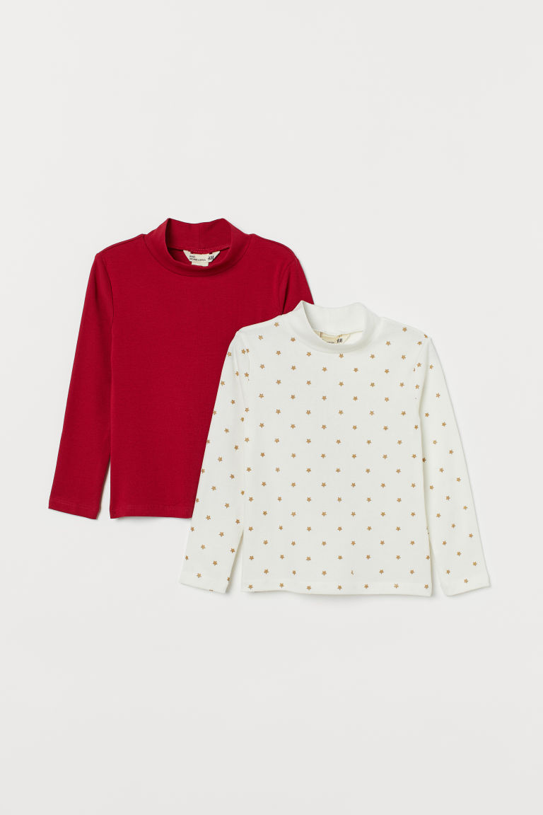 2-pack polo-neck tops - Red/Stars - Kids | H&M