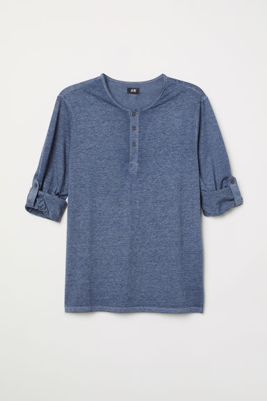 Cotton Jersey Henley Shirt - Dark blue melange - Men | H&M CA