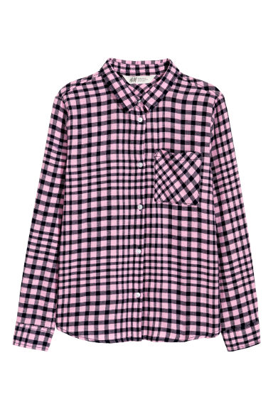 Generous Fit Cotton shirt - Pink/Black checked - Kids | H&M CN