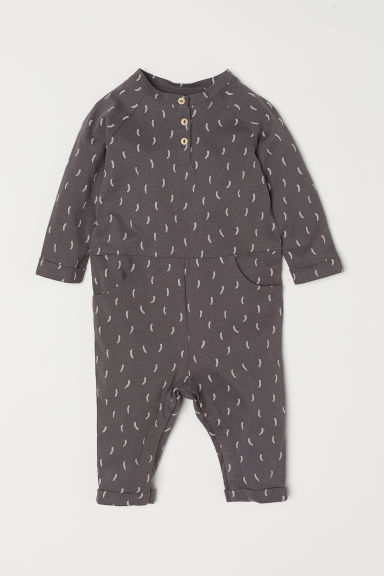 Printed jersey all-in-one suit - Dark grey/Patterned - Kids | H&M IN