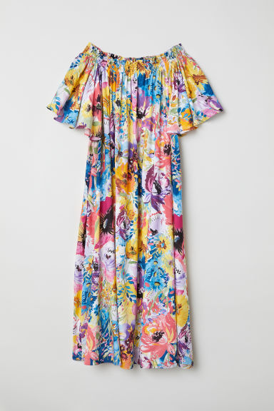 Off-the-shoulderjurk - Meerkleurig/bloemen - DAMES | H&M BE