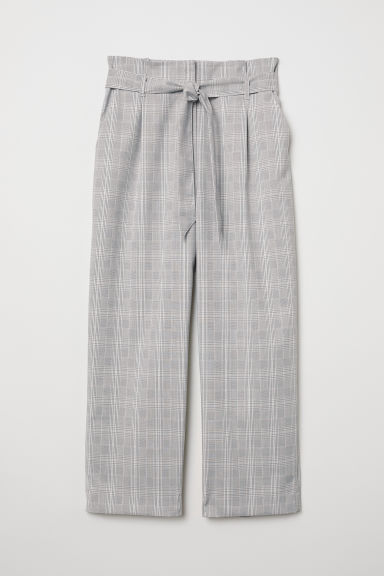 Paper bag trousers - Light grey/Checked - Ladies | H&M CN