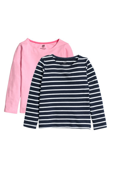 2-pack jersey tops - Dark blue/White striped - Kids | H&M CN