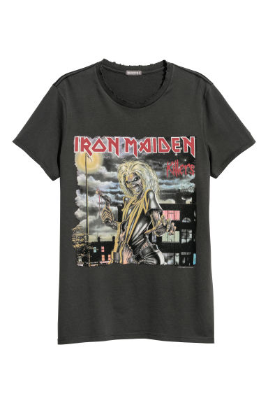 Cotton jersey T-shirt - Dark grey/Iron Maiden -  | H&M