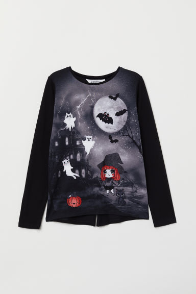 Jersey top with a motif - Black/Ghosts - Kids | H&M