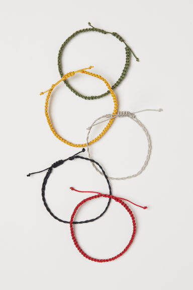 Bracelets, lot de 5 - Rouge/multicolore - HOMME | H&M FR