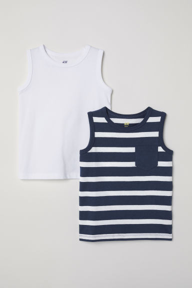 2-pack tops - Dark blue/White striped - Kids | H&M GB