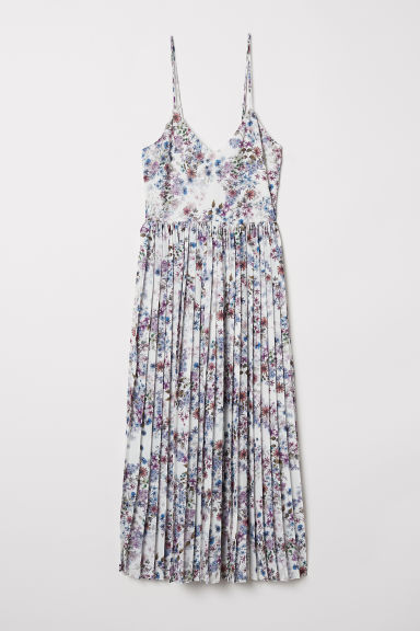 Pleated dress - White/Floral - Ladies | H&M