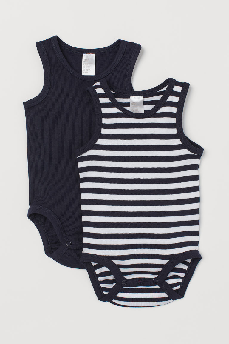 2-pack sleeveless bodysuits - Dark blue/Striped - Kids | H&M