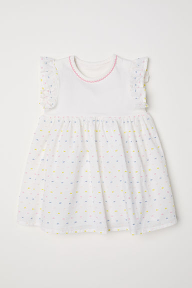 Dress with a bodysuit - Natural white/Spotted - Kids | H&M