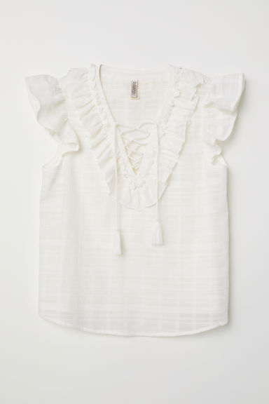 Top with frills - White - Ladies | H&M CN