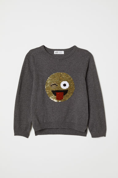 Jumper with a sequined motif - Dark grey/Smiling face - Kids | H&M