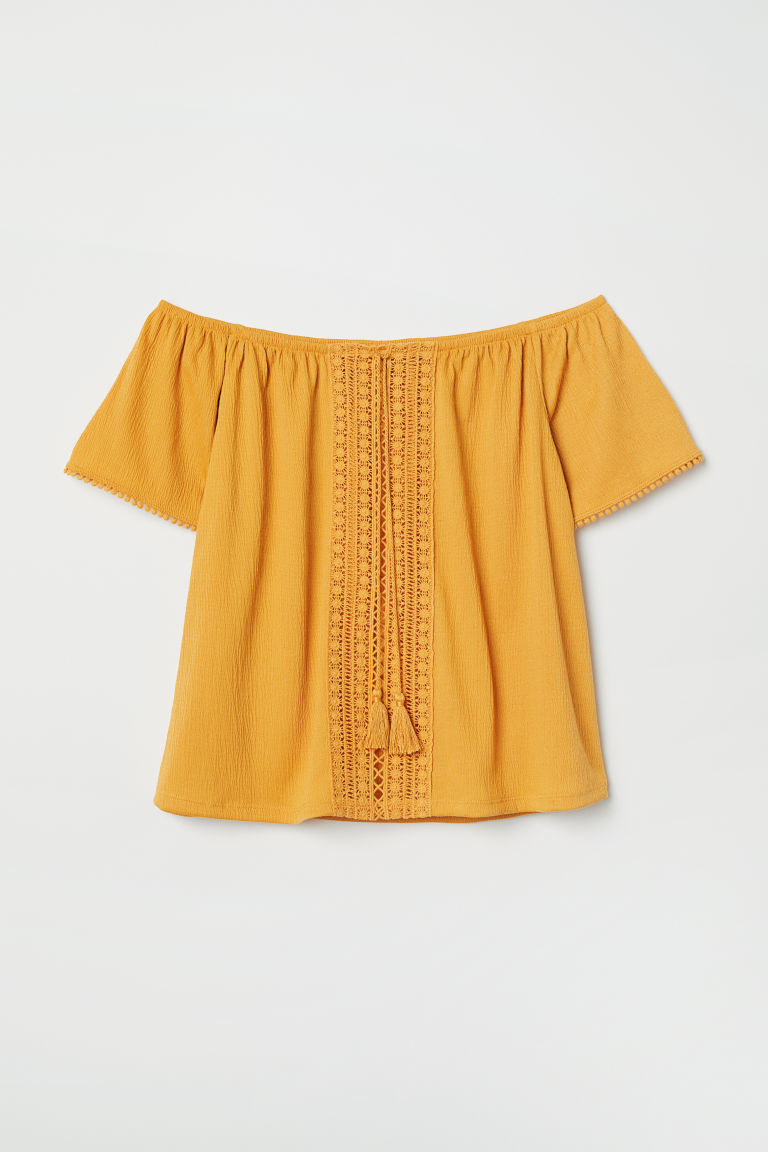 Off-the-shoulder blouse - Dark yellow - Ladies | H&M