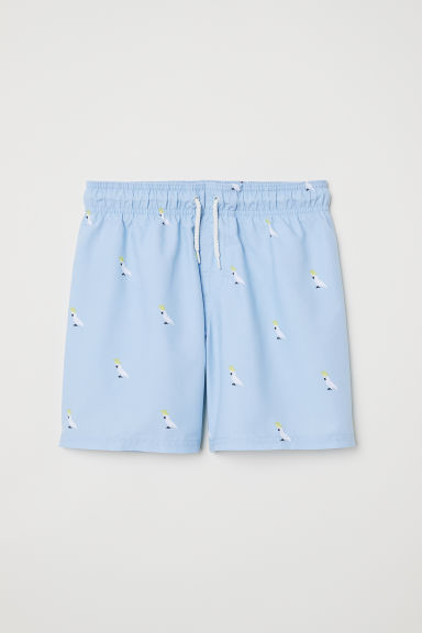 Patterned swim shorts - Light blue/Birds - Kids | H&M CN