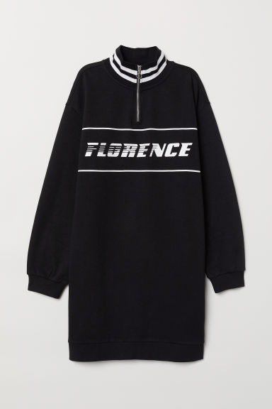 Sweatshirt dress with a collar - Black/Florence -  | H&M CN
