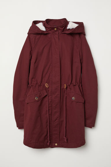 Padded parka with a hood - Burgundy -  | H&M