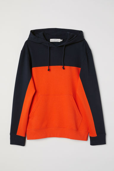 Block-patterned hooded top - Orange/Multicoloured -  | H&M