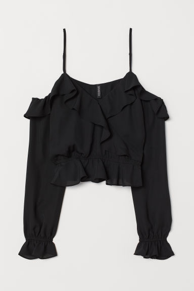 Cold shoulder blouse - Black -  | H&M